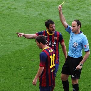 Messi fue amonestado durante el partido. Foto de Quique García / Agencia AFP