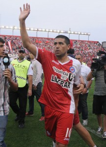Riquelme, con la camiseta de Argentinos Juniors, su último club. Foto de Hugo Ramos / Agencia NA