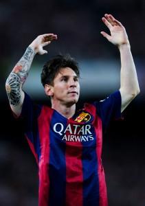 Messi festeja el primer gol  en la final de la Copa del Rey. Otra obra cumbre en su carrera. Foto de David Ramos / Getty Images Europe / Vía Zimbio
