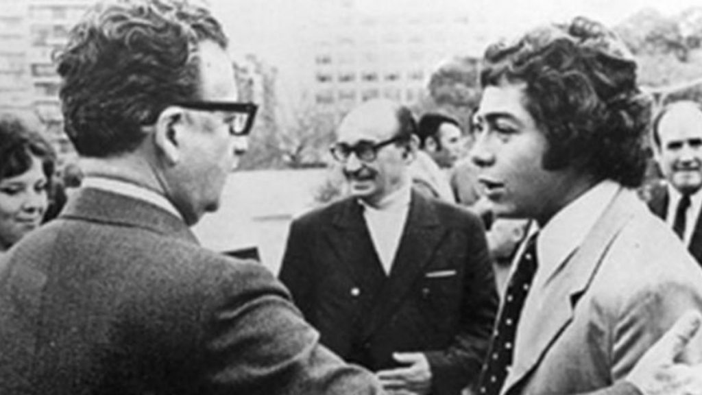 Caszely y Salvador Allende, juntos en Buenos Aires antes de la final de la Libertadores en 1973.